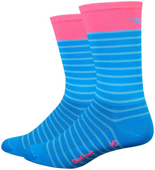 "DeFeet Aireator 6"" Sailor Sock: Process Blue/Flamingo Pink"