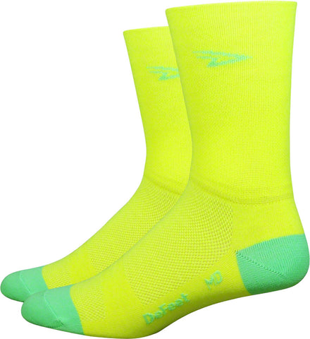 DeFeet Aireator Hi Top Sock: Yellow/Green