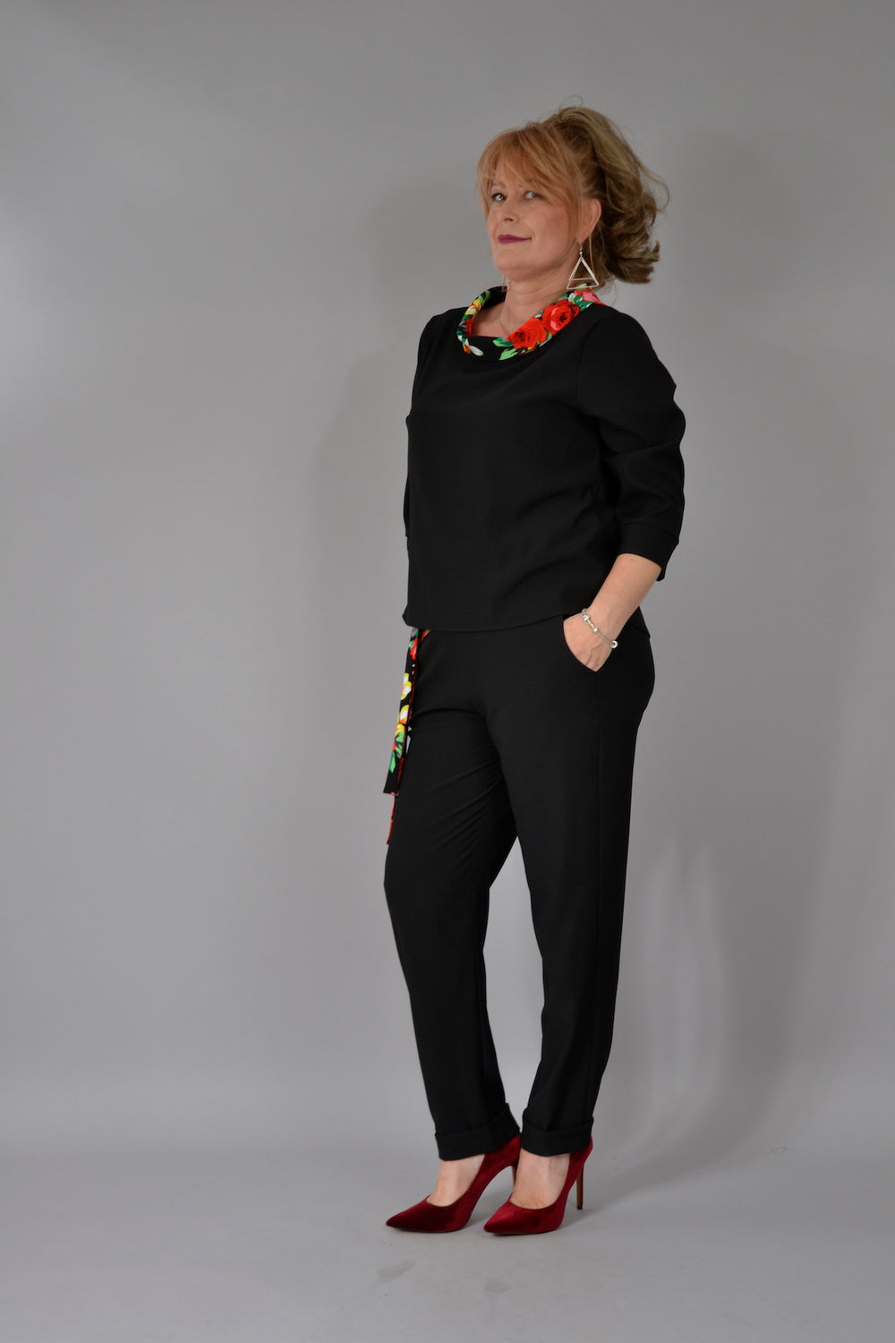 Pantalon P043 Pana Barbie Negru Pantaloni Feel Free Fashion