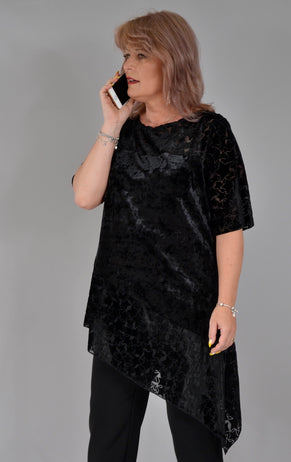 Bluza Tiffany B110, catifea negru Bluze Feel Free Fashion