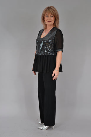 Bluza Tina B164, negru/argintiu Bluze FeelFree Fashion