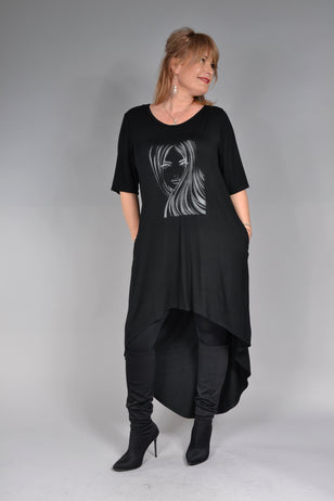 Bluza Misty B034, Negru chip de fata argintiu Feel Free Fashion