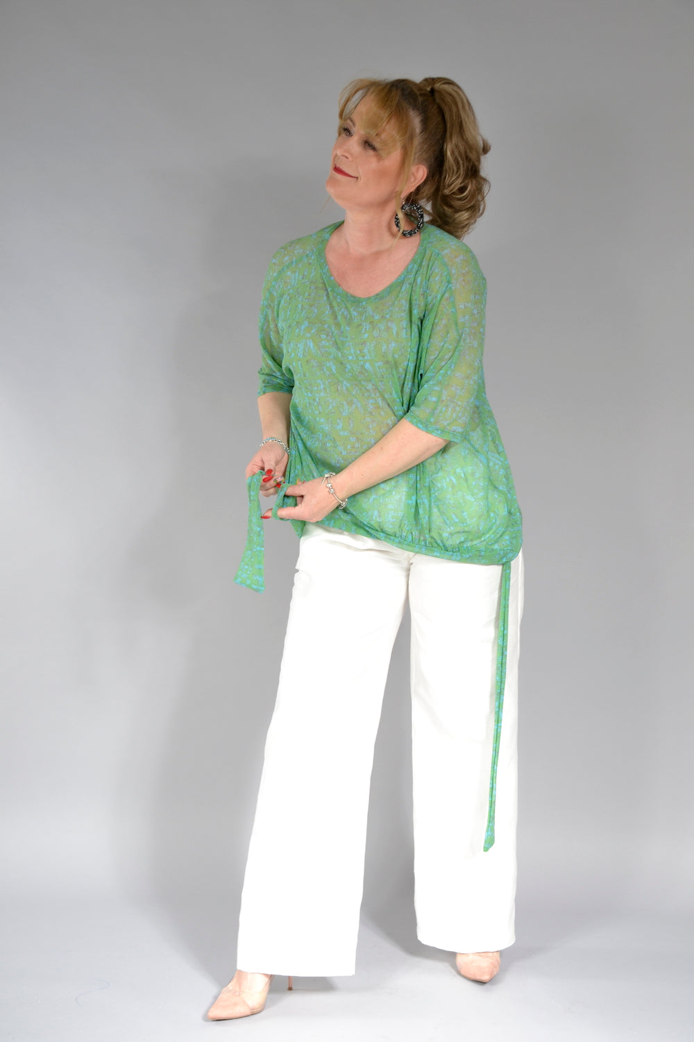 BLUZA MADISON B145MS OVERSIZE TULL VERDE .