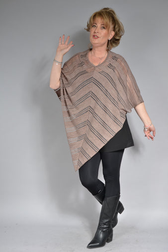 PONCHO C075, bej transparent