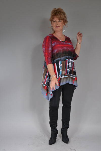 Bluza Monica B081 imprimeu abstract dreptunghiuri