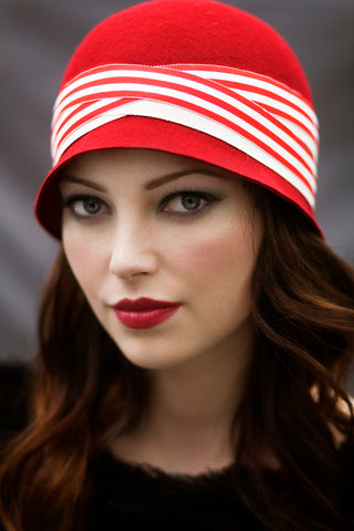 Red Cloche Hat, Great Gatsby style hat