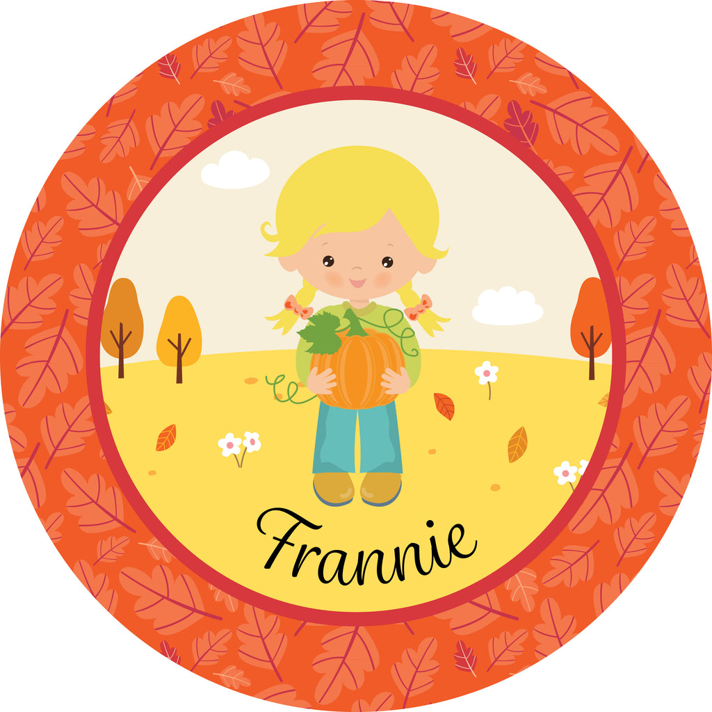 Thanksgiving Plate Girl Pumpkin