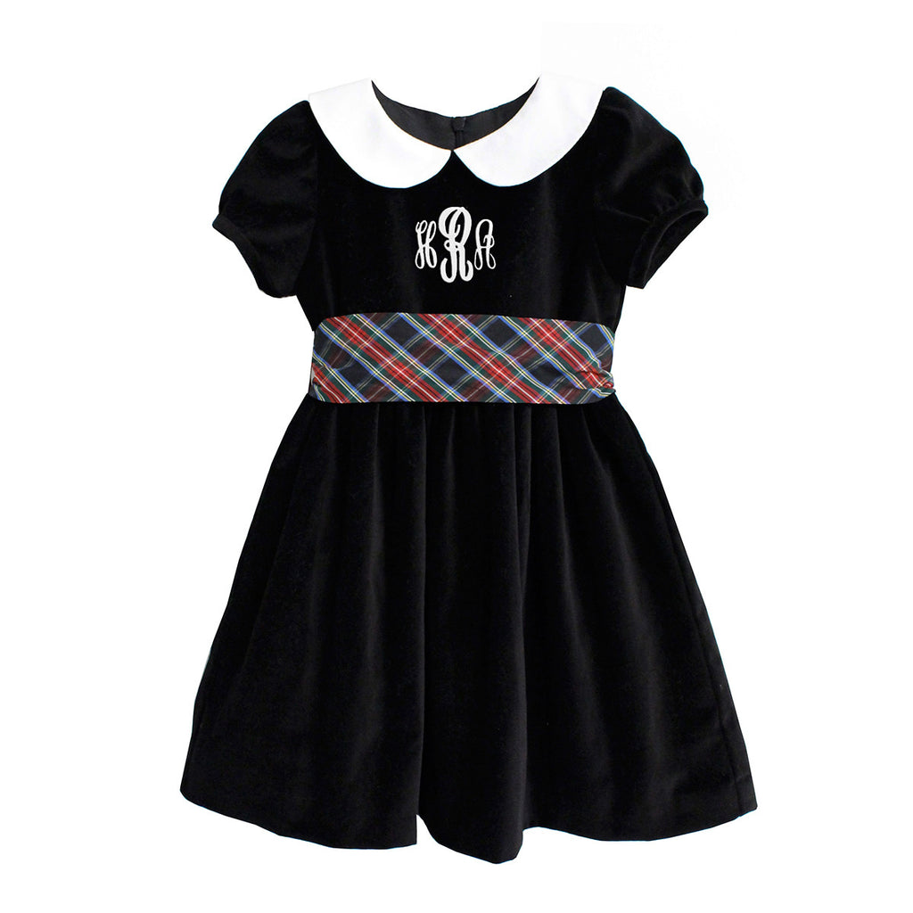 Black Velveteen Holiday Sash Dress