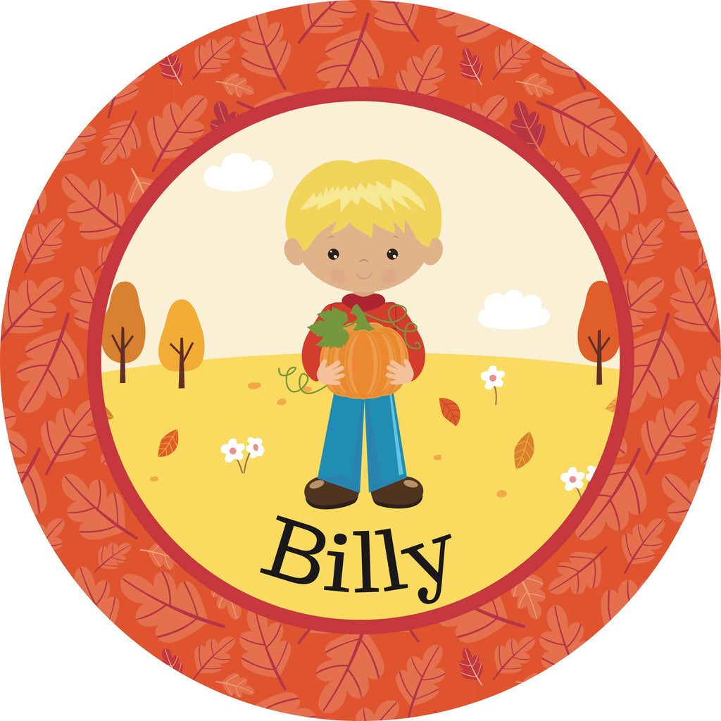 Thanksgiving Plate Boy Pumpkin