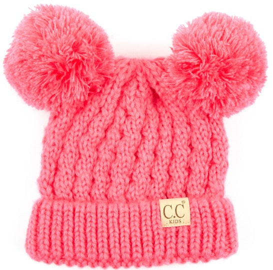 Knit Hat W/ Double Pom