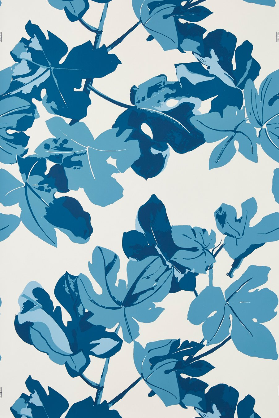 Fig Leaf - Blue on White