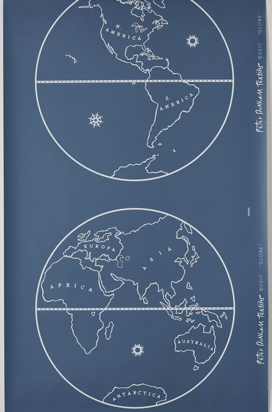 Globe - White on Indigo