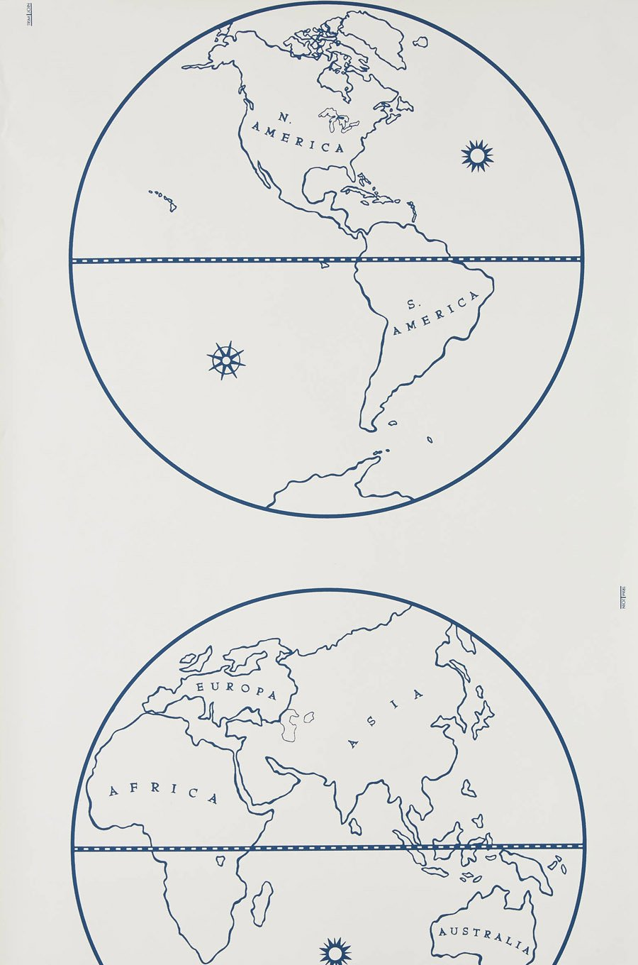 Globe - Indigo on White
