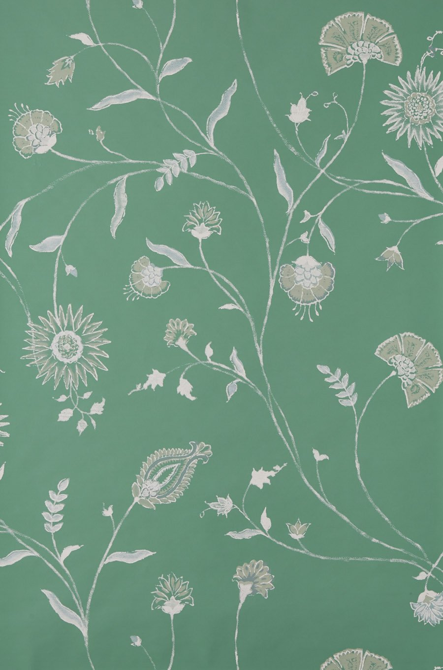 Indian Chintz - White on Green