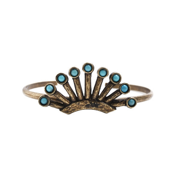 Rodeo Queen Cuff (view more colors) - ANTIQUE BRASS / HOWLITE TURQUOISE - The 2 Bandits - 3