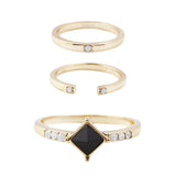Stevie Ring Set (view more colors) - 14K GOLD PLATED / BLACK ONYX / WHITE CRYSTAL / 6 - The 2 Bandits - 2