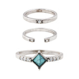Stevie Ring Set (view more colors) - ANTIQUE SILVER / HOWLITE TURQUOISE / WHITE CRYSTAL / 6 - The 2 Bandits - 1