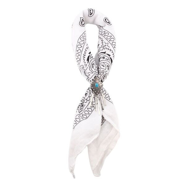 Pacific Coast Highway Bandana - VINTAGE WHITE / ANTIQUE SILVER / HOWLITE TURQUOISE - The 2 Bandits - 1