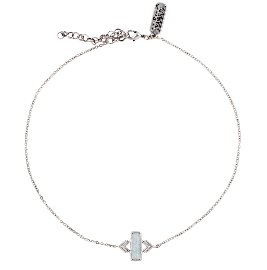 Zion Choker - ANTIQUE SILVER / SIMULATED OPAL - The 2 Bandits - 1