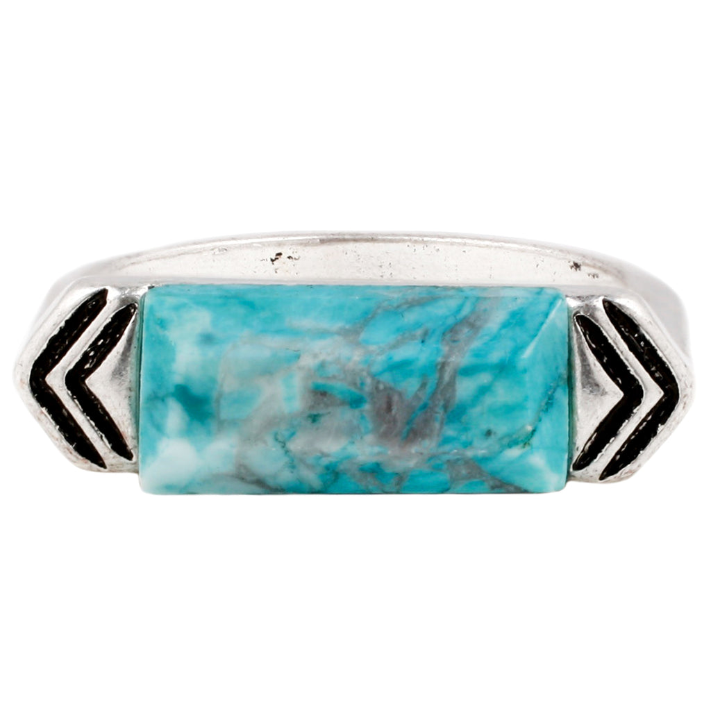 Wanderlust Ring - ANTIQUE SILVER / HOWLITE TURQUOISE - The 2 Bandits - 1