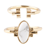 White Sands Ring Set - 14K GOLD PLATED / WHITE HOWLITE TURQUOISE - The 2 Bandits - 1