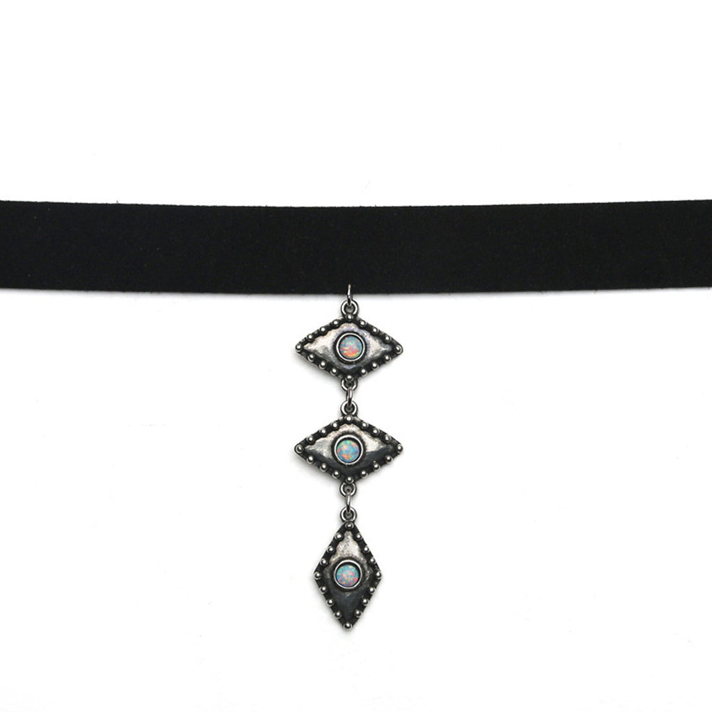 WILD EYES CHOKER - ANTIQUE SILVER / SIMULATED OPAL - The 2 Bandits - 1