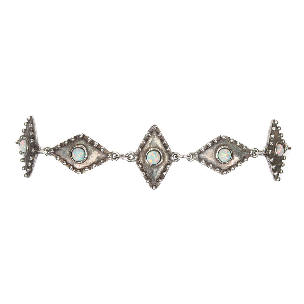 Wild Eyes Linked Choker - ANTIQUE SILVER / SIMULATED OPAL - The 2 Bandits - 1