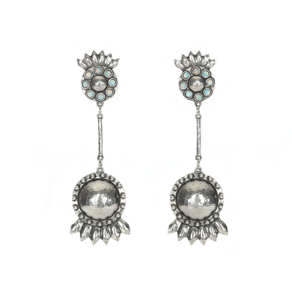 Sunflower Earrings - ANTIQUE SILVER / SIMULATED OPAL - The 2 Bandits - 1