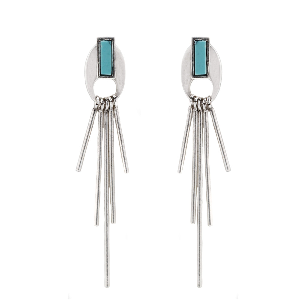 Topanga Earrings (view more colors) - ANTIQUE SILVER / HOWLITE TURQUOISE - The 2 Bandits - 1