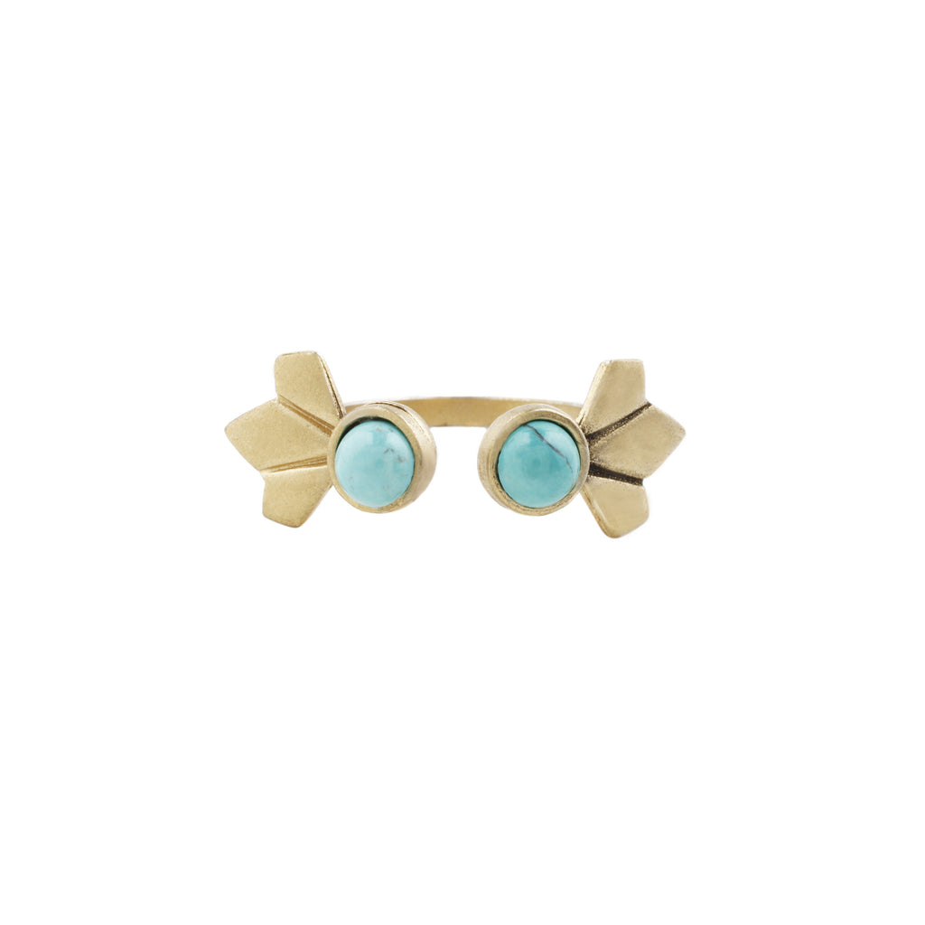 Daytripper Open Ring (view more colors) - 22K GOLD PLATED / HOWLITE TURQUOISE - The 2 Bandits - 1