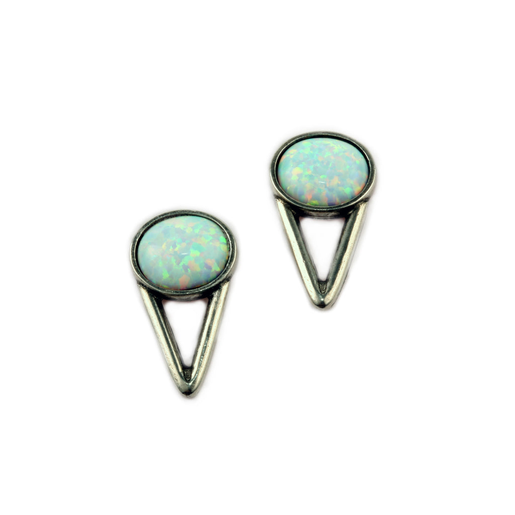 The Wall Earrings (view more colors) - ANTIQUE SILVER / SIMULATED OPAL - The 2 Bandits - 1