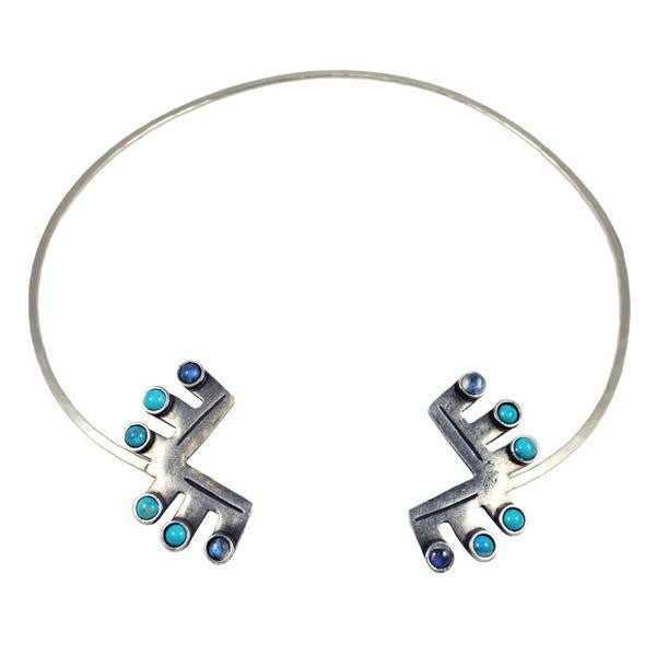 Teepee Open Collar - ANTIQUE SILVER / HOWLITE TURQUOISE / MOONSTONE - The 2 Bandits - 1