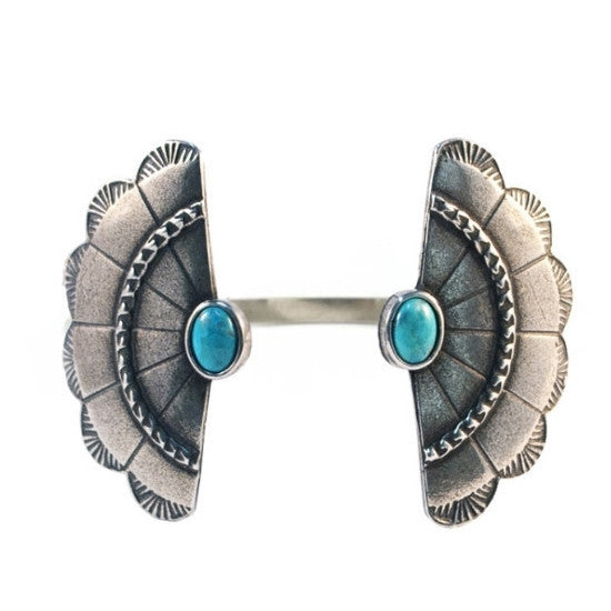 Concho Wing Cuff (view more colors) - ANTIQUE SILVER / HOWLITE TURQUOISE - The 2 Bandits - 3