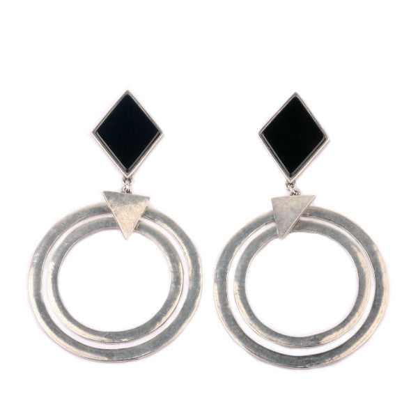 Dark Side Earrings (view more colors) - Antique Silver / Black Onyx - The 2 Bandits - 3