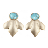 Scarecrow Earrings (view more colors) - 22K GOLD PLATED / HOWLITE TURQUOISE - The 2 Bandits - 8