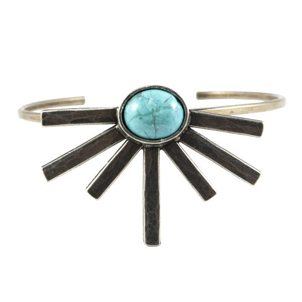 Sunshine Daydream Cuff (view more colors) - ANTIQUE SILVER / HOWLITE TURQUOISE - The 2 Bandits - 1