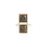 Double Square Ring (view more colors) - 22K GOLD PLATED / LABRADORITE / 7 - The 2 Bandits - 3