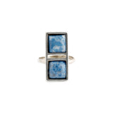 Double Square Ring (view more colors) - 22K GOLD PLATED / DENIM LAPIS / 7 - The 2 Bandits - 4