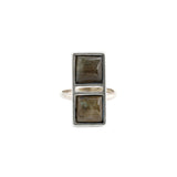 Double Square Ring (view more colors) - ANTIQUE SILVER / LABRADORITE / 7 - The 2 Bandits - 5