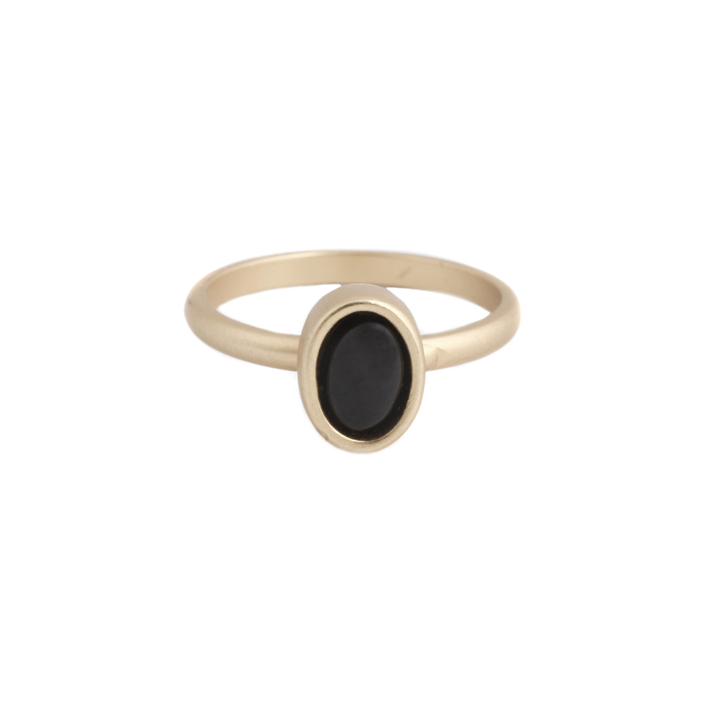 Oval Ring (view more colors) - 22K GOLD PLATED / BLACK ONYX / 7 - The 2 Bandits - 1