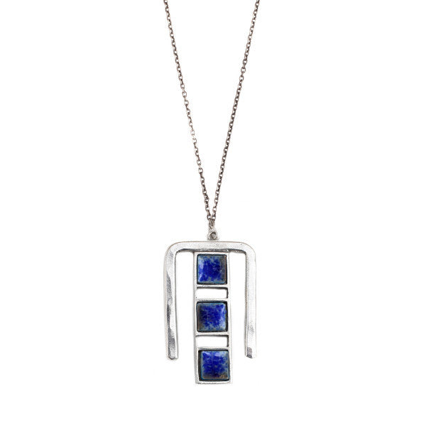 Ms. Jones Necklace (view more colors) - ANTIQUE SILVER / DENIM LAPIS - The 2 Bandits - 1