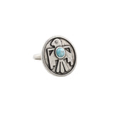 Porter's Thunderbird Ring (view more colors) - ANTIQUE SILVER / HOWLITE TURQUOISE - The 2 Bandits - 1