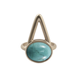 The Wall Ring (view more colors) - 22K GOLD PLATED / HOWLITE TURQUOISE / 7 - The 2 Bandits - 12