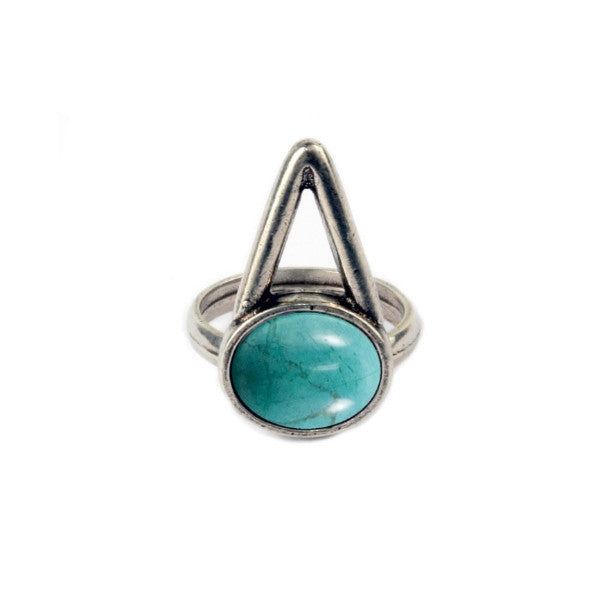 The Wall Ring (view more colors) - ANTIQUE SILVER / HOWLITE TURQUOISE / 7 - The 2 Bandits - 1
