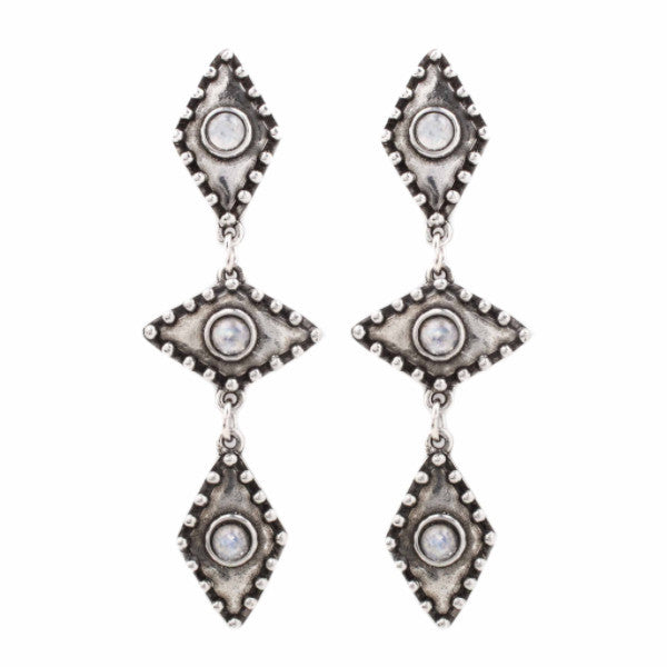 Wild Eyes Earring (view more colors) - ANTIQUE SILVER / MOONSTONE - The 2 Bandits - 1
