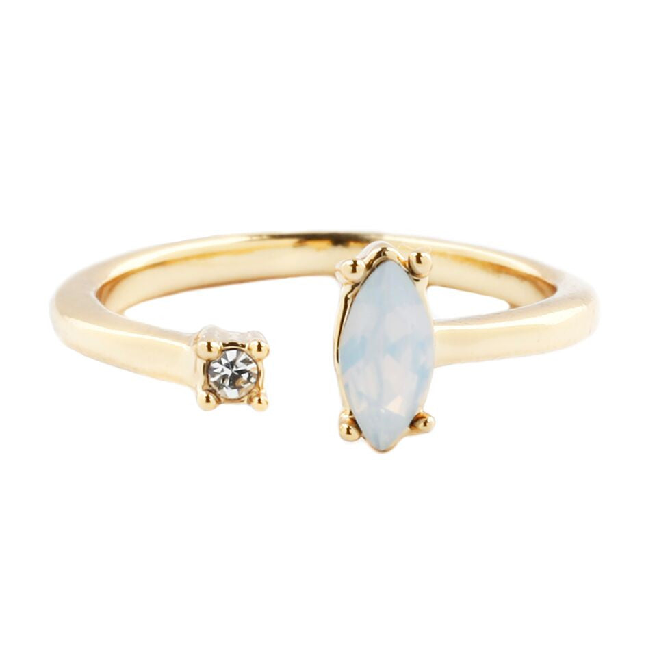 Morning Star Open Midi Ring (view more colors) - 14K GOLD PLATED / SIMULATED OPAL / WHITE CRYSTAL - The 2 Bandits - 2
