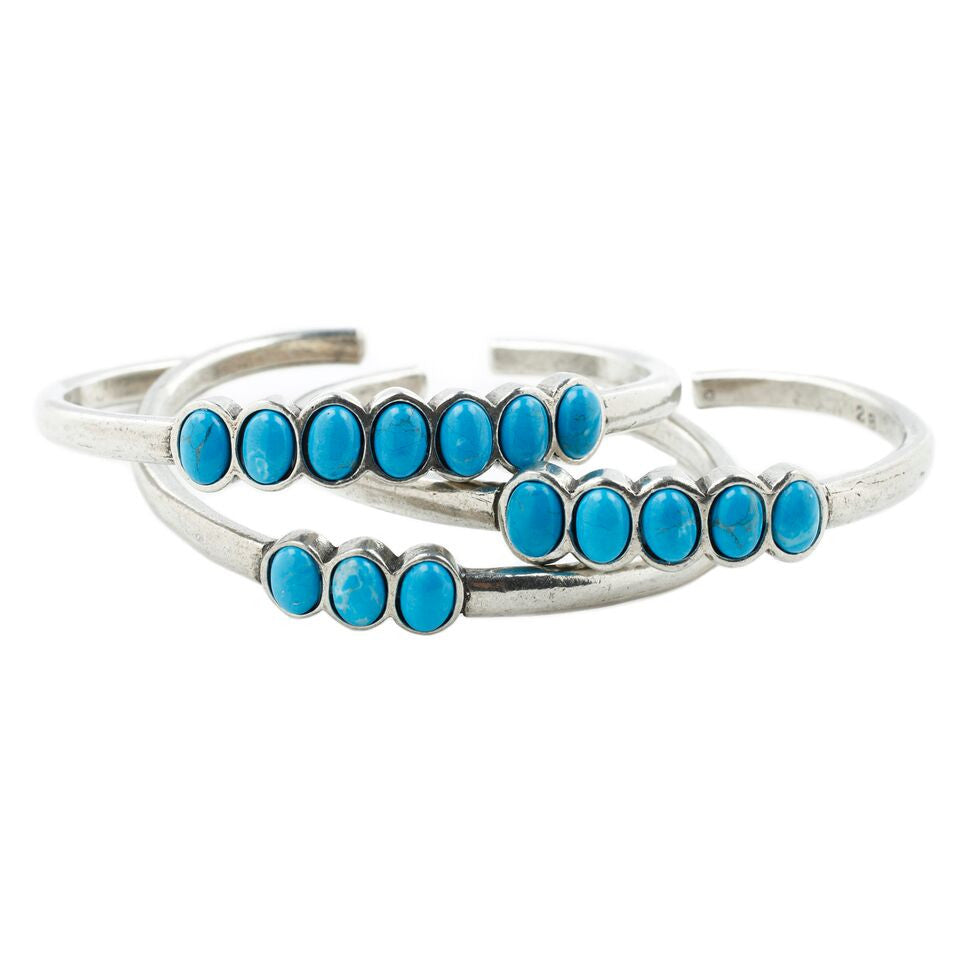 Pacific Ocean Cuff Set - ANTIQUE SILVER / HOWLITE TURQUOISE - The 2 Bandits - 1