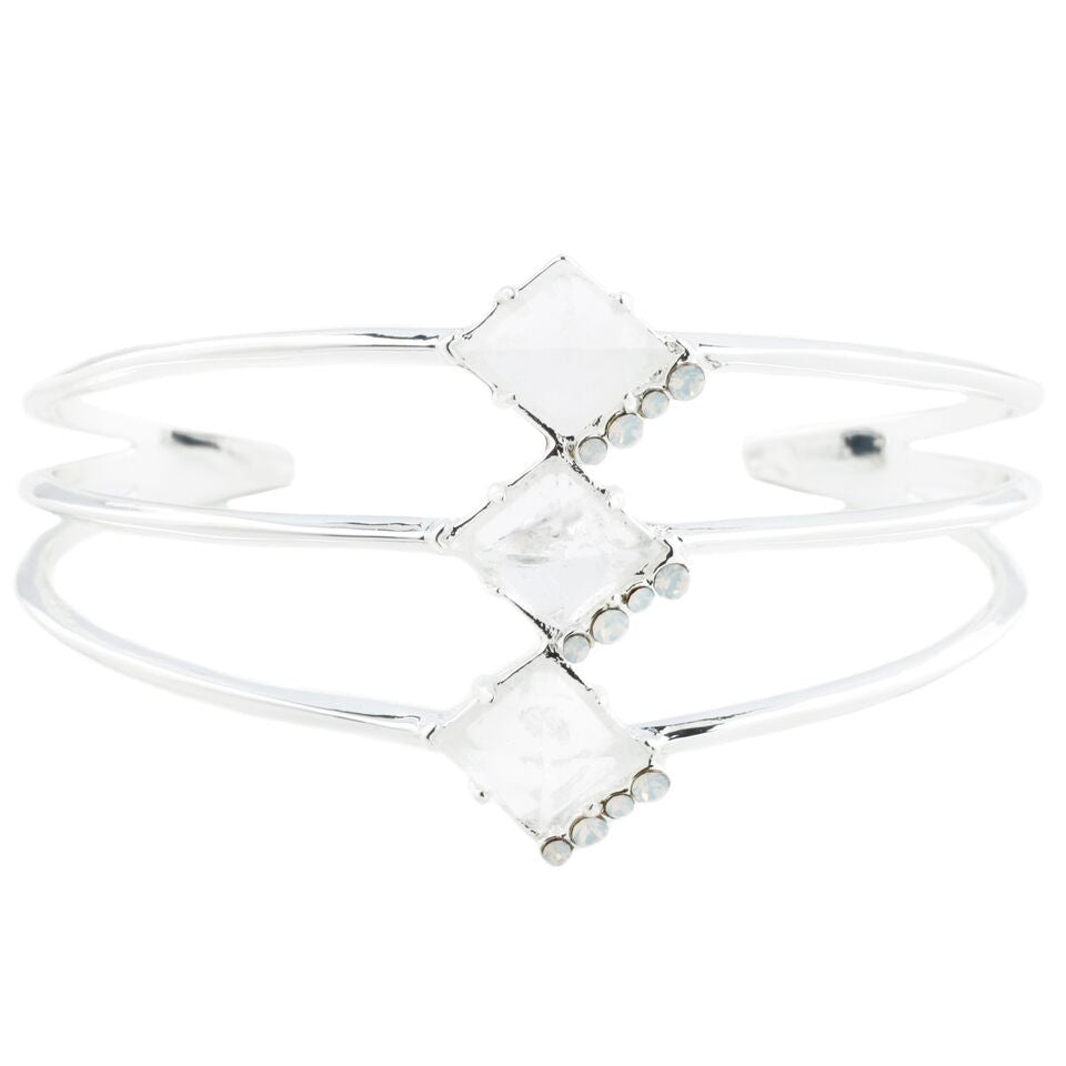 Triple Prism Cuff (view more colors) - 14K GOLD PLATED / ROSE QUARTZ / WHITE CRYSTAL - The 2 Bandits - 1