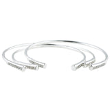 Lovechild Bangle Set (view more colors) - ANTIQUE SILVER / WHITE CRYSTAL - The 2 Bandits - 2