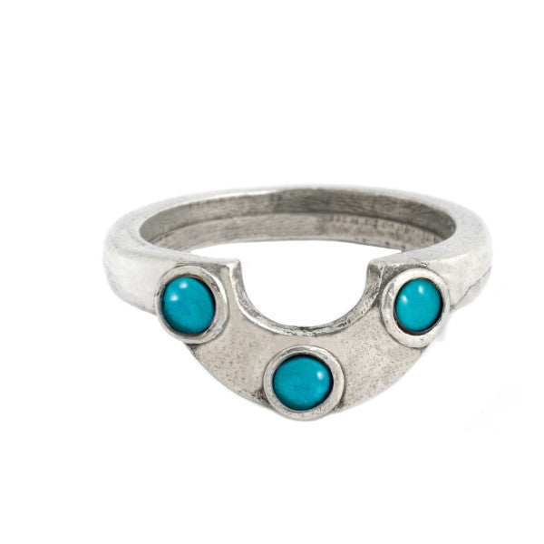 Horizon Ring (view more colors) - ANTIQUE SILVER / HOWLITE TURQUOISE - The 2 Bandits - 3